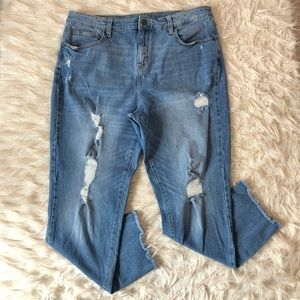Distressed high rise straight leg jeans